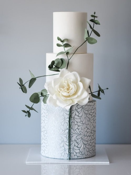 Suzanne Esper Floral Splash Stencil Cake 1